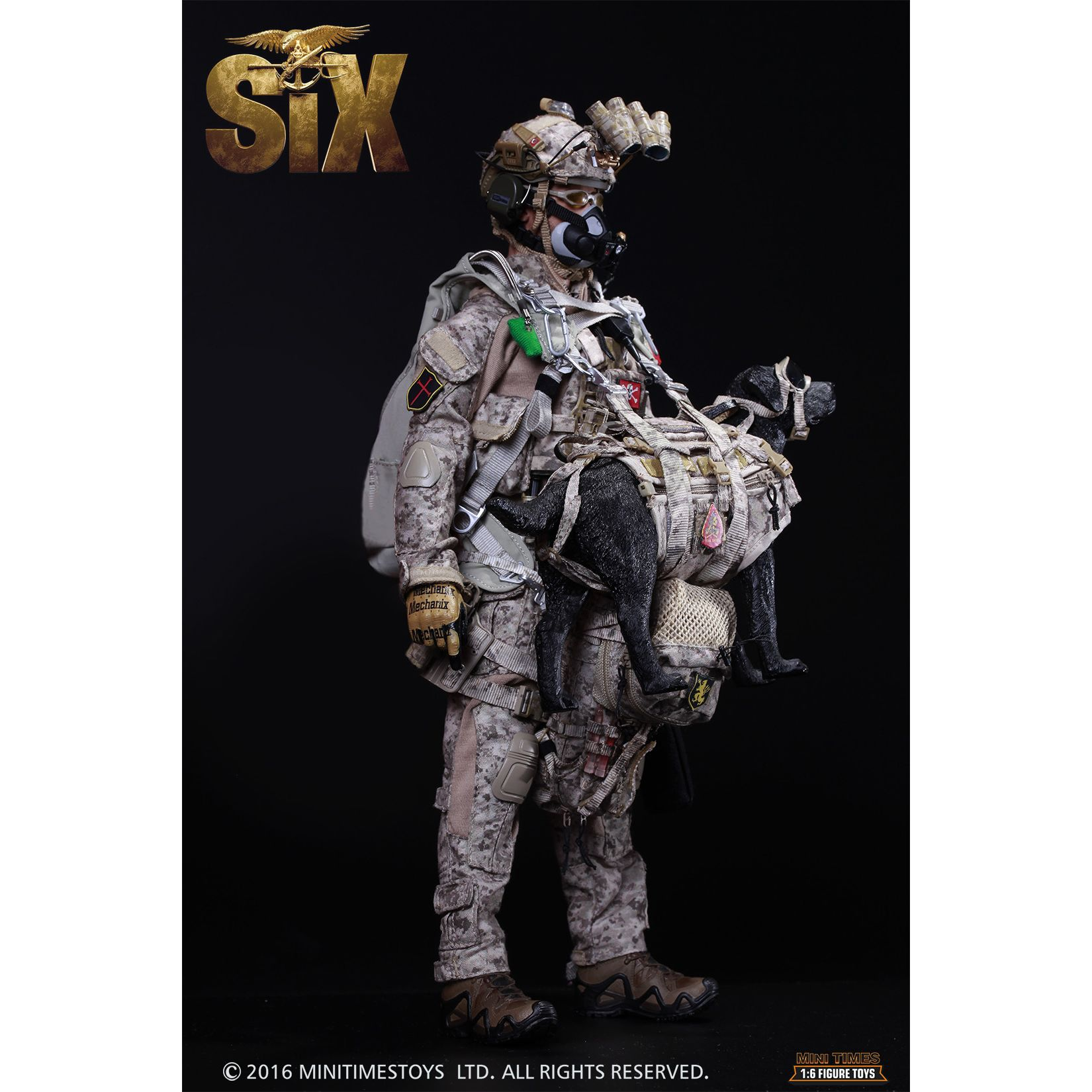 US Navy Seal Team Six K9 HALO Jumper with dog 1:6 scale action figure Mini  Times M006